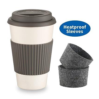 Taza de Café para Llevar de Fibra de Bambú Reutilizable / Ecológica / Biodegradable de Ecooe
