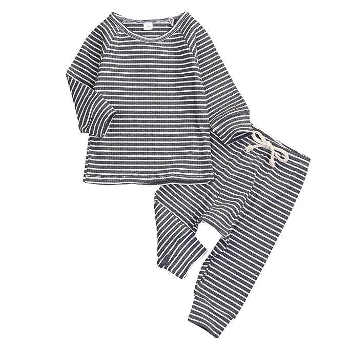 New Baby Kids Girls Boys Soft Cotton Striped 2Pcs Pajamas Pyjamas Sleepwear Set