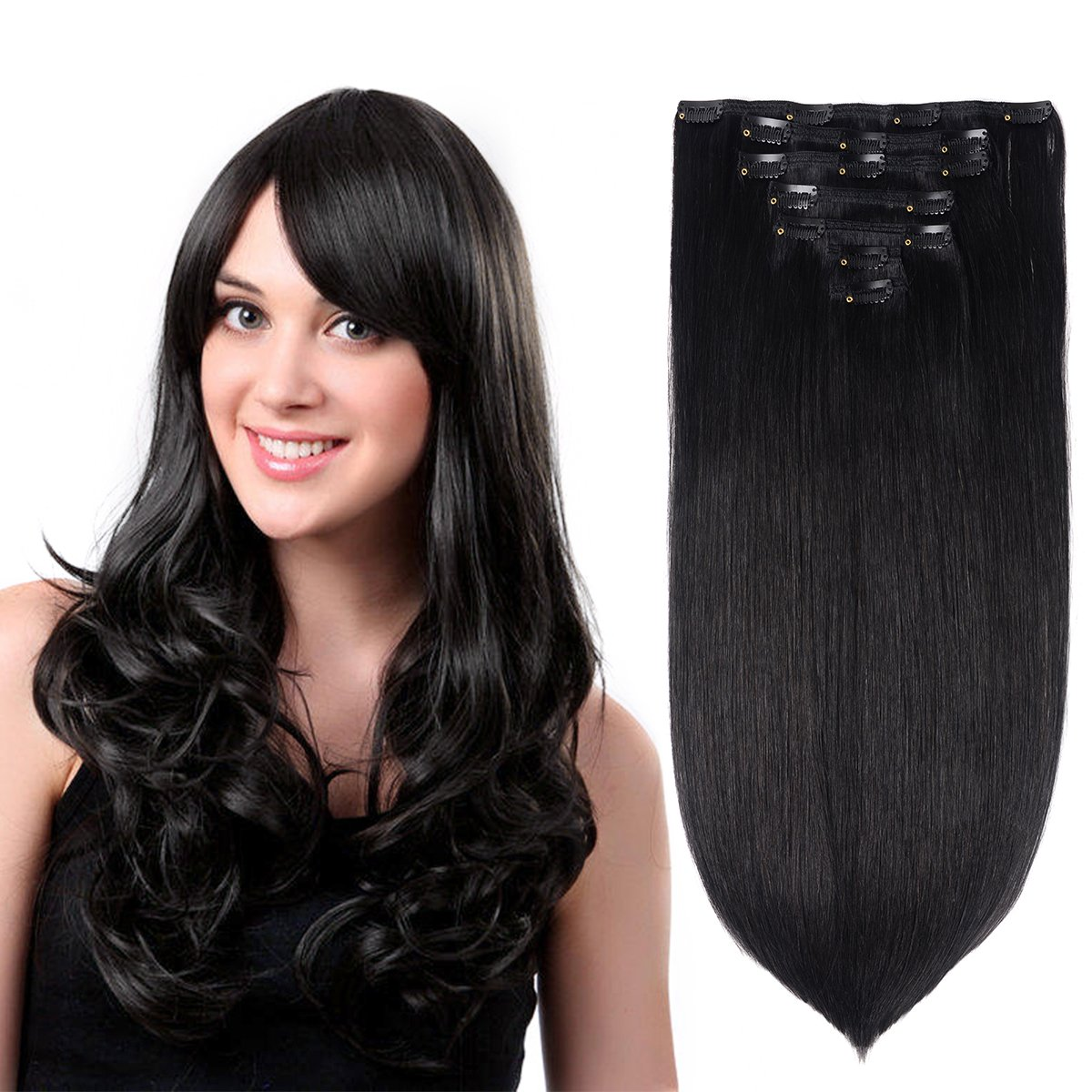 Amazon 15 Remy Human Hair Clip In Extensions For Women Dark