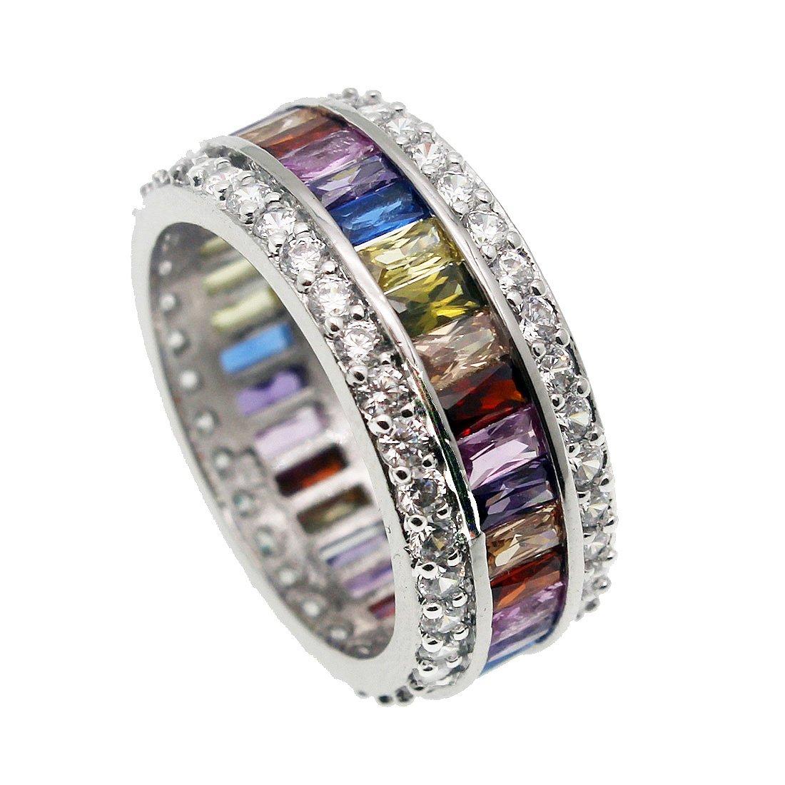 Hermosa Gemstone Ring Morganite Garnet Amethyst Aquamarine Ruby Topaz Women Jewelry Size 6 7 8 9 10 11 12 (12)