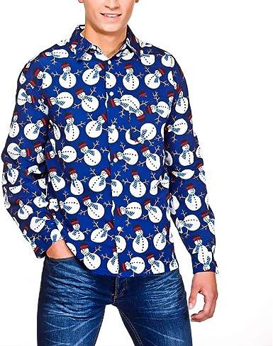 Camisa Navidad Hombre de Manga Larga Shirt Camisa Casual Navideño con Impresión de Reno Muñeco de Nieve Papá Noel Corte Recto M - XXL para Fiesta Navidad: Amazon.es: Ropa y accesorios