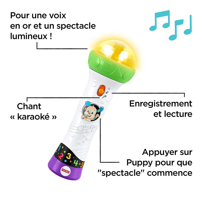 Deux Modes de Jeu pour Apprendre en Musique et Enregistrer Sa Voix FBP31 18 Mois et Plus Fisher-Price le Micro de Puppy Jouet B/éb/é