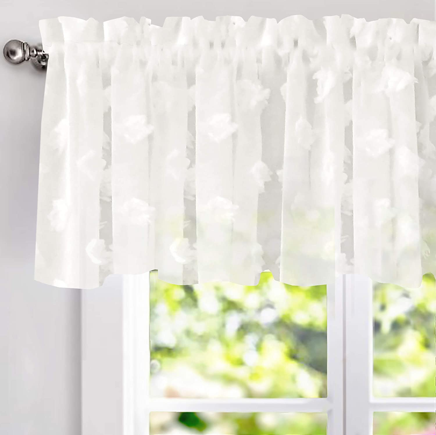 Amazon Com Driftaway Olivia White Voile Chiffon Sheer Window Curtain Valance For Small Kitchen Embroidered Pom Single Rod Pocket 60 Inch By 18 Plus 2 Header Off