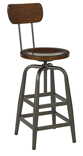 Ave Six Sullivan Swivel Stool, Pewter/Walnut