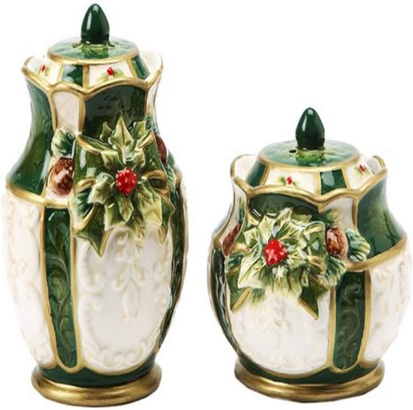 Cosmos Emerald Holiday Holly Salt /& Pepper Set