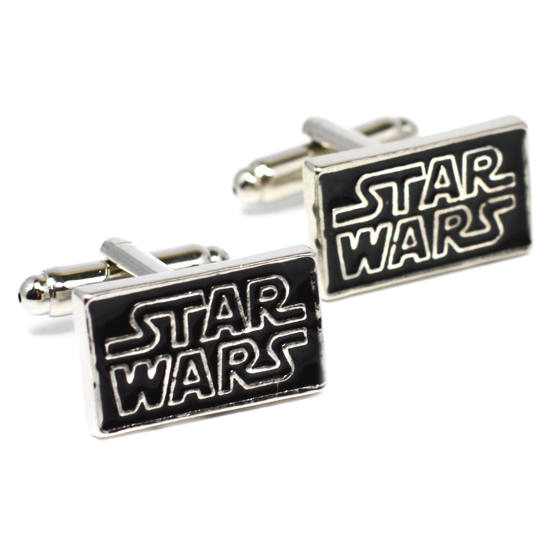 Star Wars Logo Manschettenknöpfe - Schwarz Neuheit-Manschettenknöpfe mit Silber Schriftzug Beaux Bijoux