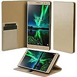 Taslar(TM) Lenovo Phab 2 Plus Flip Case, Crazy Horse Series, Stand View Wallet Feature Flip Back Cover Case For Lenovo Phab 2 Plus - Gold
