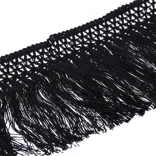 Cinta flecos algodón 10 cm – negro – anchura 100 mmmm: Amazon.es: Hogar
