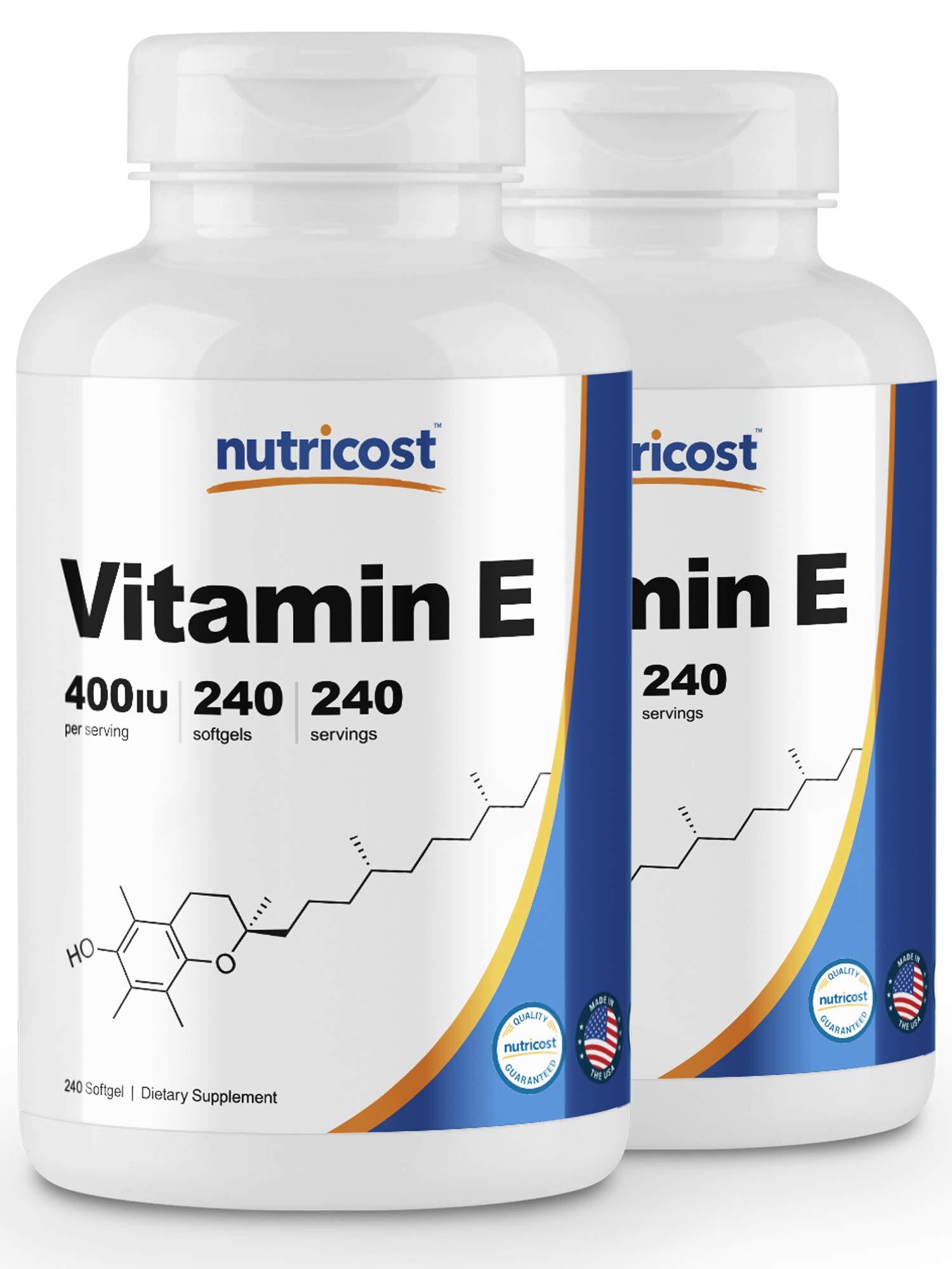 Nutricost Vitamin E 400 IU, 240 Softgel Capsules (2 Bottles)