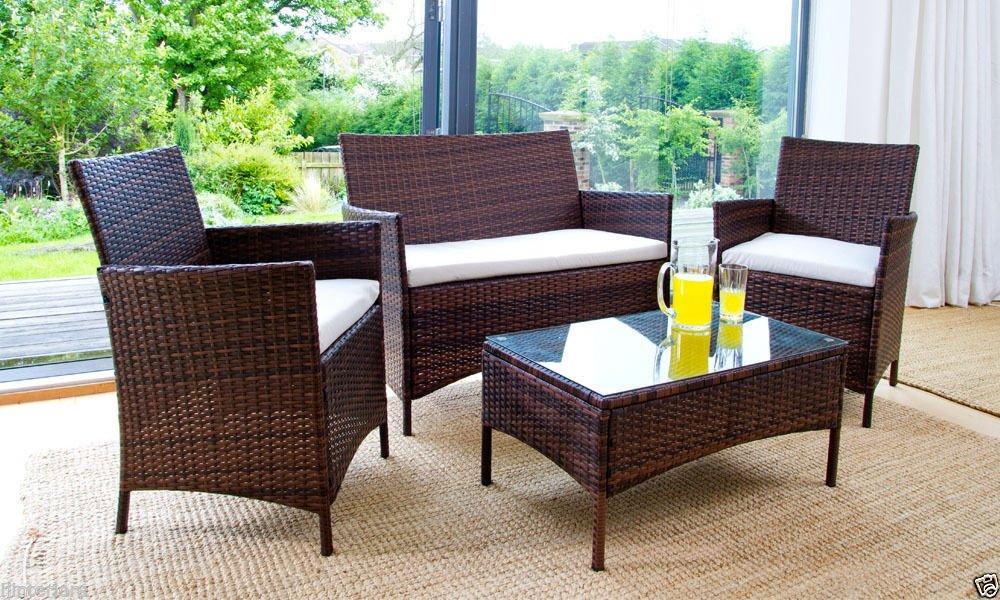 IJ Interiors   Rattan Garden Furniture Set   Chairs, Sofa Table   Outdoor  Patio Conservatory Wicker, Black: Amazon.co.uk: Kitchen U0026 Home