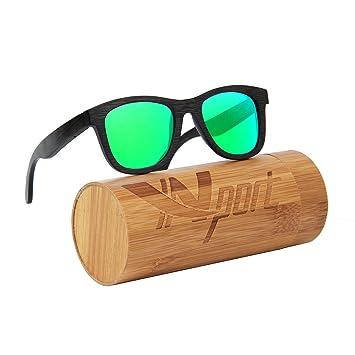 Lunettes de soleil vintage Ynport Crefreak, faites main, monture noire en bambou, classique, protection UV 100 % , Homme, bleu, taille unique