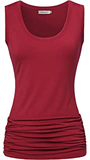 1775b8adcb115 Helloacc Womens Tank Tops Scoop Neck Sleeveless Stretch Side Shirring Tunics