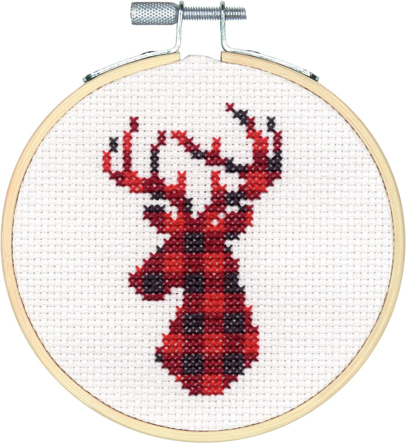 Plaid Reindeer Christmas Cross Stitch White 14 Count Aida Dimensions 72-76048 Kit 4 Embroidery Hoop