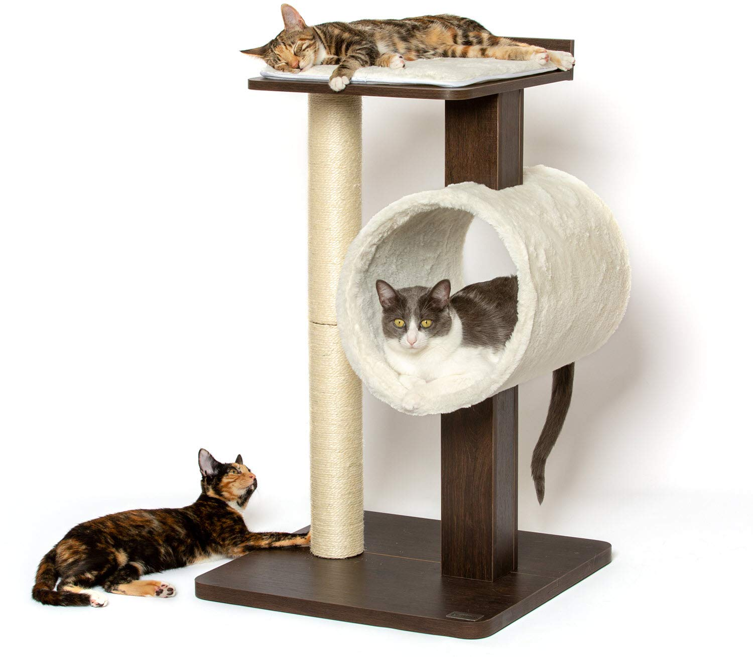 Petfusion modern cat tree house tall modern and neutral platforms espresso finish amazon ca pet supplies