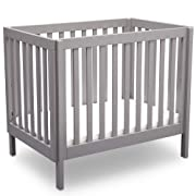 Delta Children Bennington Elite Mini Crib with Mattress, Light Grey