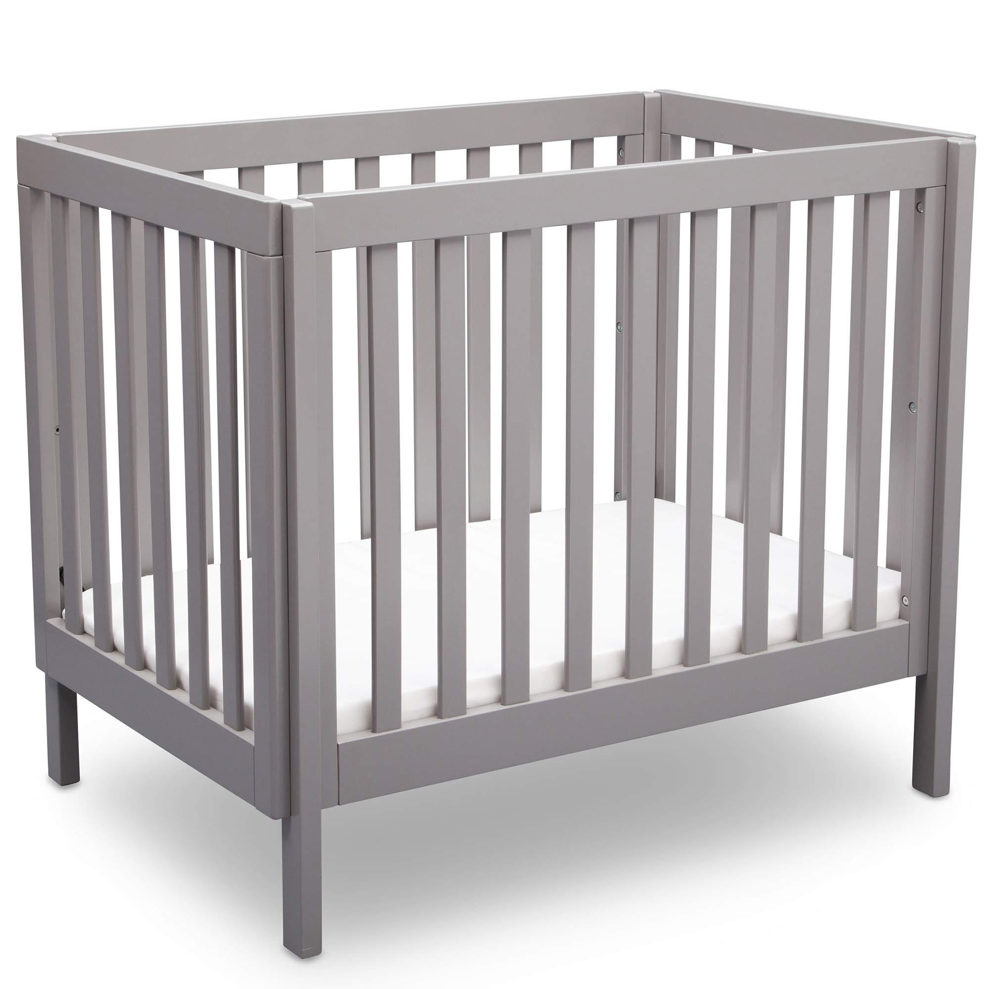Delta Children Bennington Elite Mini Crib with Mattress, Light Grey