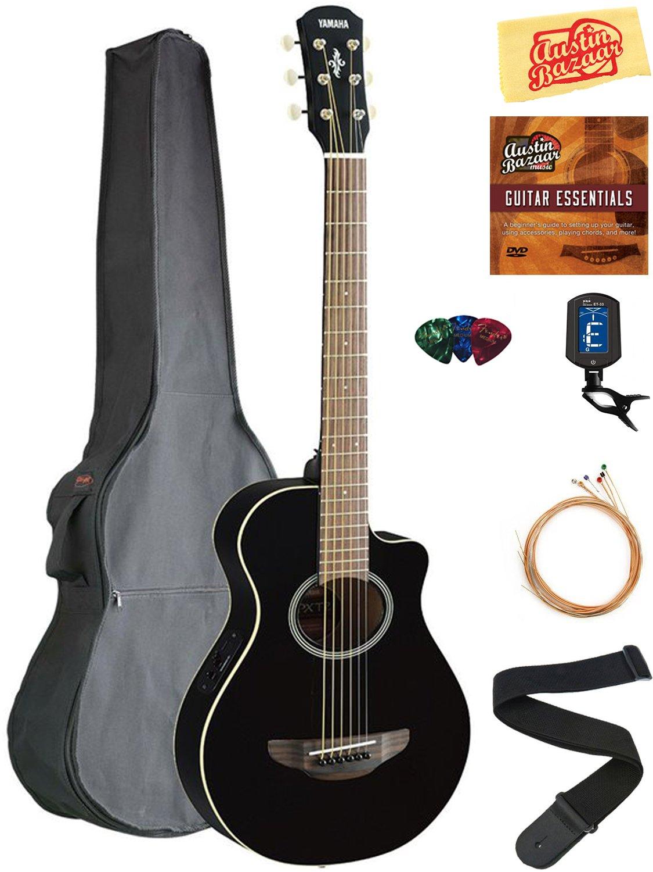 Yamaha APXT2 3/4-Size Acoustic-Electric Guitar - Black Bundle with Gig Bag, Tuner, Strings, Strap, Picks, Austin Bazaar Instructional DVD, and Polishing Cloth