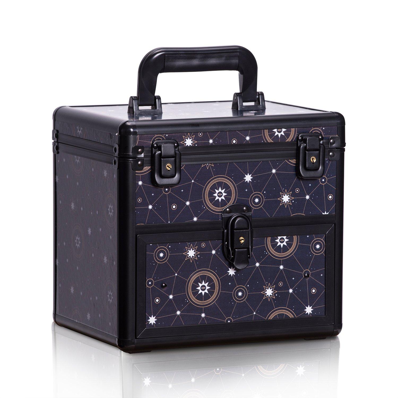 Caja Profesional Del Organizador Del Polaco De La Belleza Caja De Almacenamiento Cosmé tica De Las Herramientas Del Maquillaje, Tamañ o: 25.5 x 26 x 24cm Tamaño: 25.5 x 26 x 24cm Uuhome