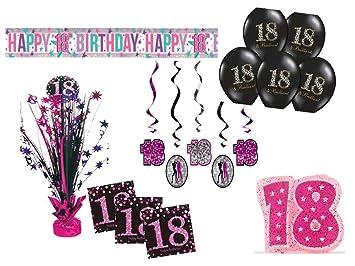 Fiesta Decorar Set 18 Cumpleaños 30 piezas niña rosa negro ...