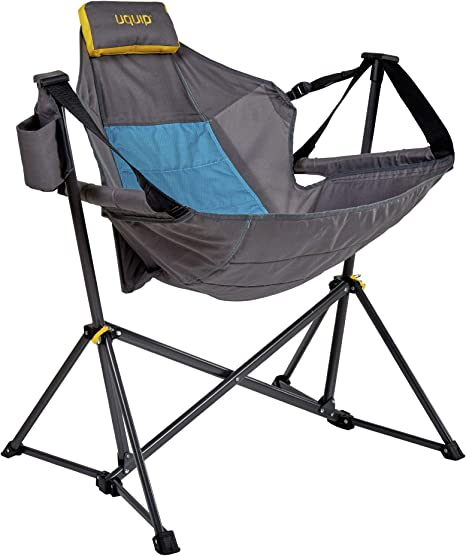Uquip Rocky Silla de Camping - Silla Colgante con Soporte - Peso Ligero, Tamaño en Estuche pequeño, Capacidad de Carga hasta 120 Kg