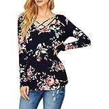 semen Femme T-Shirt Top Haut Longue Manche Imprimé Floral Croisé Blouse  Elégant Lâche Confort b71c85f0aa4b