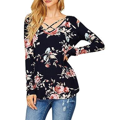 7a4231da35d20 semen Femme T-Shirt Top Haut Longue Manche Imprimé Floral Croisé Blouse  Elégant Lâche Confort
