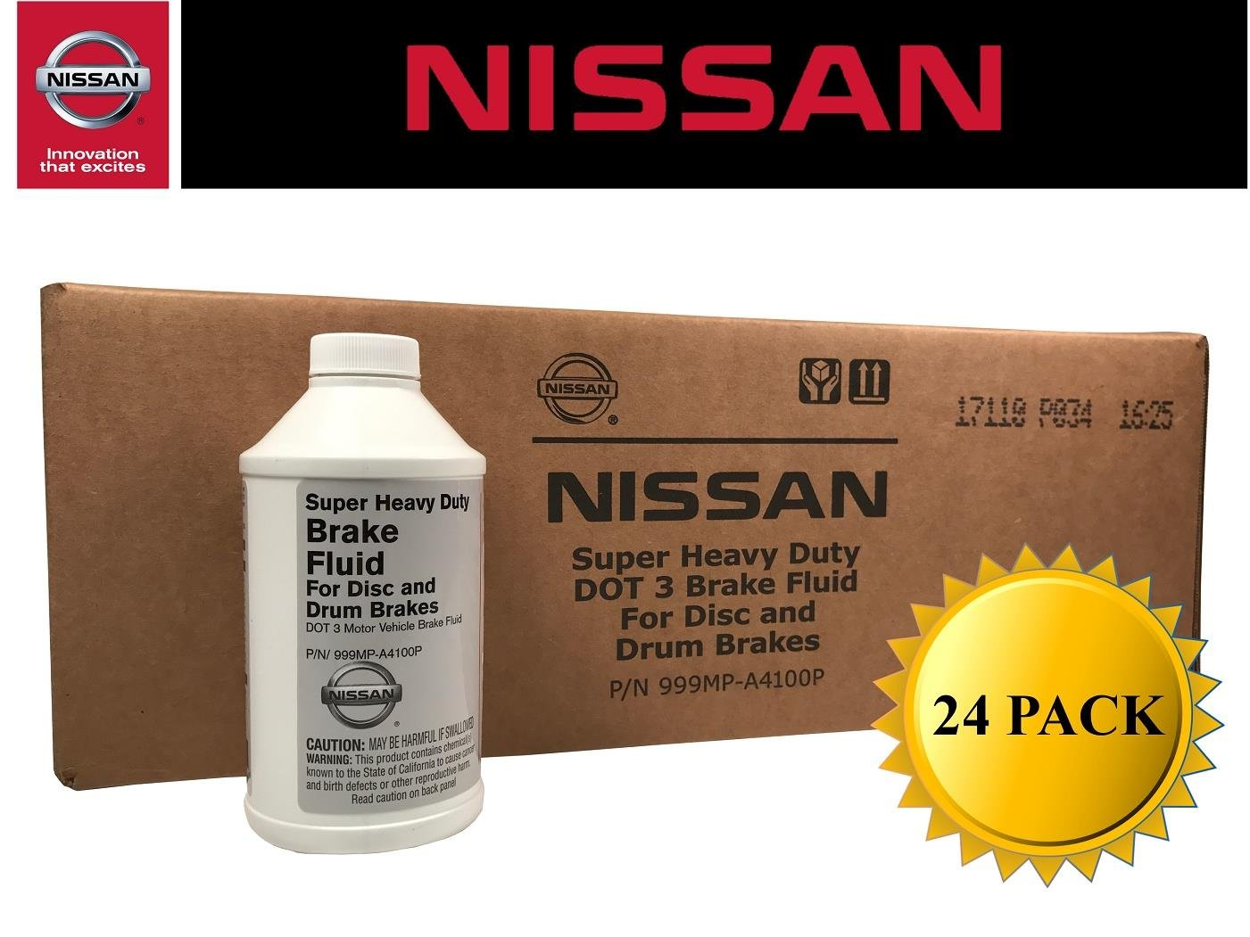 Genuine Nissan OEM DOT 3 Brake Fluid 999MP-A4100P (Case of 24) by Nissan