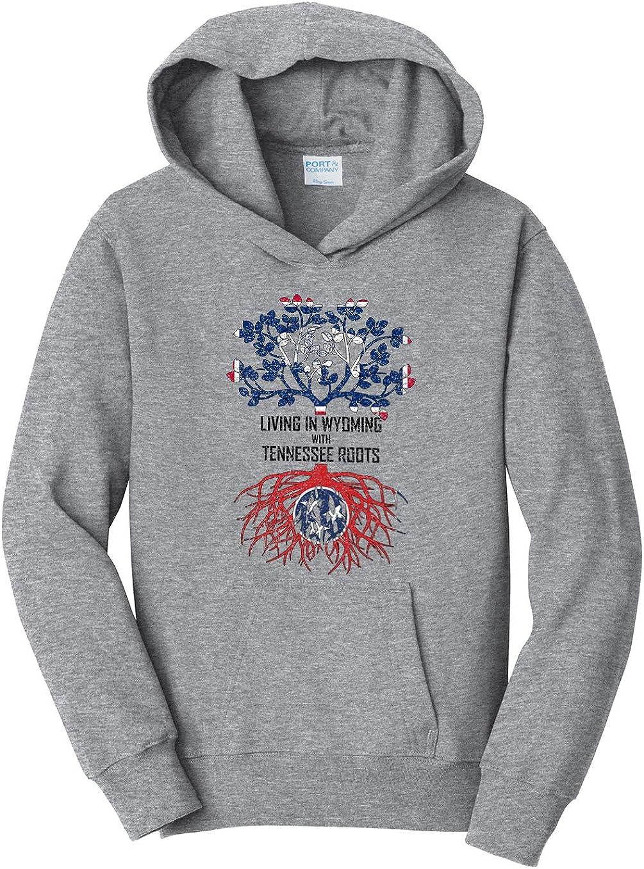 Tenacitee Girls Living in Wyoming with Tennessee Roots Hooded Sweatshirt