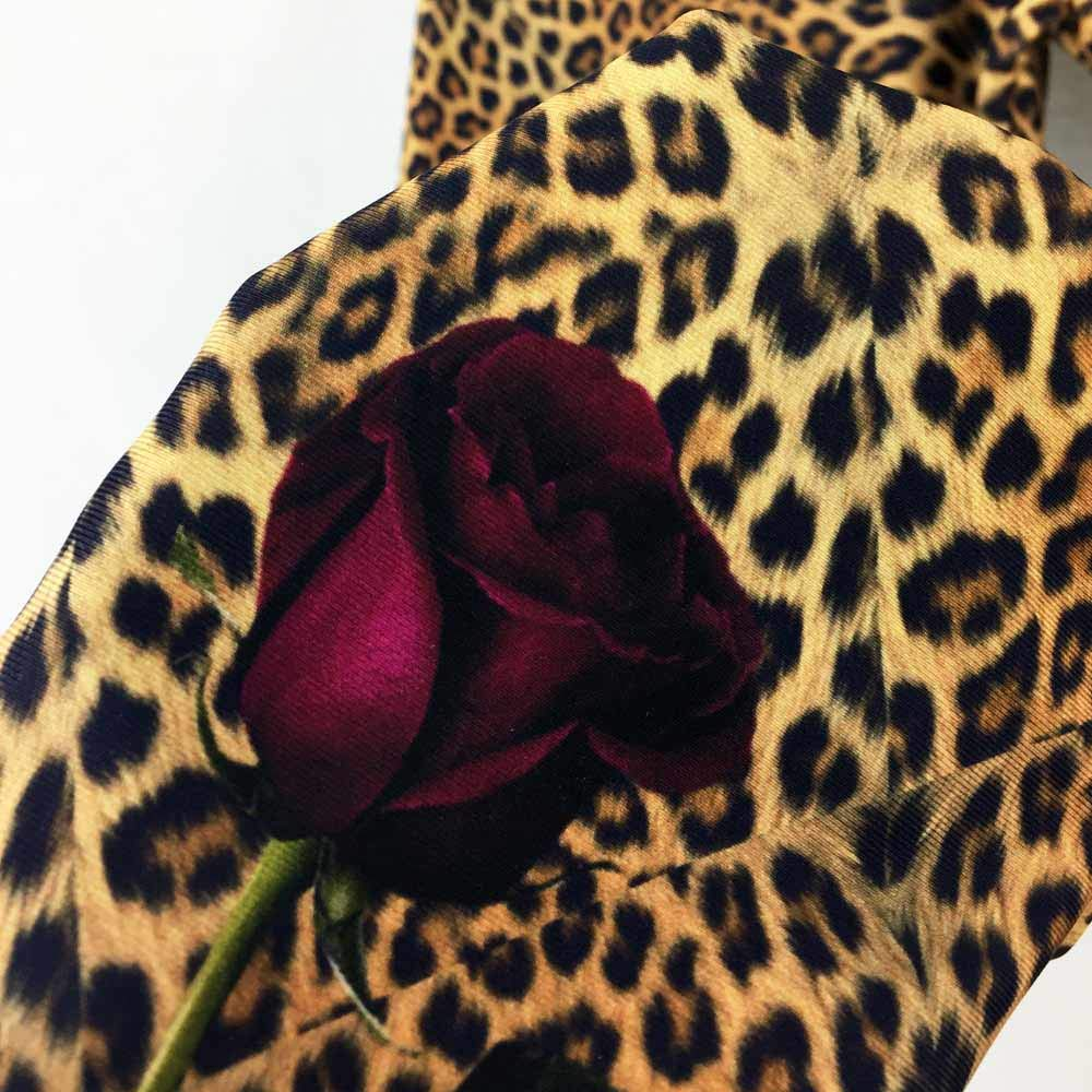 Cheetah or Leopard Animal Print with Rose Detail Spandex Festival Leggings Size XL