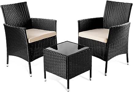Mc Haus TIVOLI - Set de Muebles de jardín terraza o balcón (Mesa+2 sillas color negro): Amazon.es: Juguetes y juegos