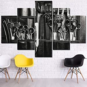Wall Pictures for Living Room Hairdresser Tools Wall Art Hair Salon Paintings Multi Panel Printed on Canvas Black and White Artwork Modern Home Decor Framed Gallery-Wrapped Ready to Hang(60''Wx40''H)