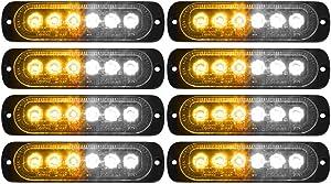 DIBMS LED Emergency Strobe Lights, 8x Amber White 6 LED Strobe Warning Emergency Flashing Light Caution Construction Hazard Light Bar For Car Truck Van Off Road Vehicle ATV SUV Surface Mount