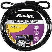 Master Lock 49EURD Cable con Hebillas, Negro, 3m