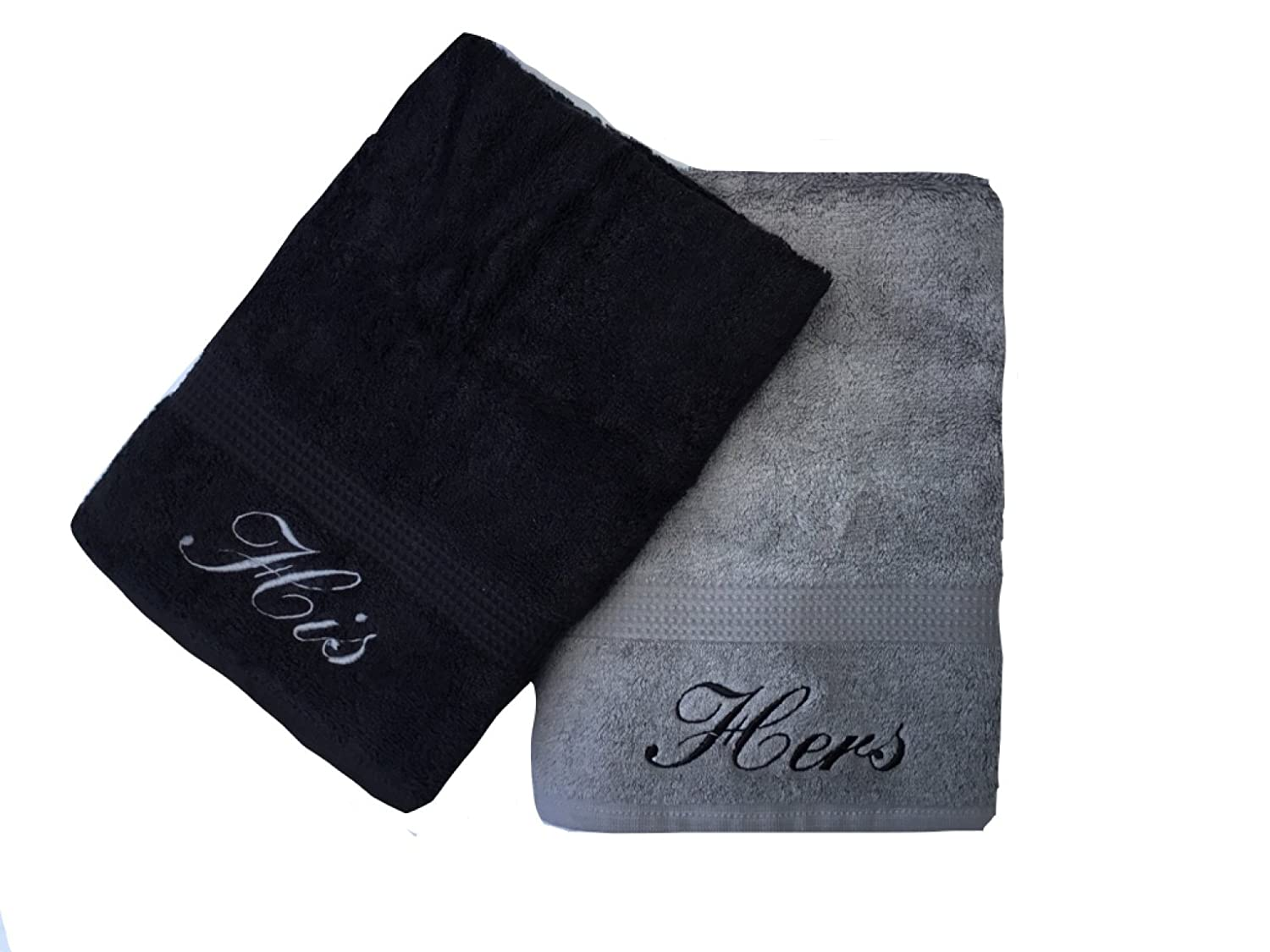 Embroidered His & Hers Black and Grey Hand Towels Pair Niche Embroidery