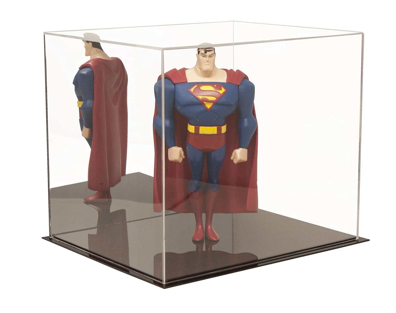 """Better Display Cases Versatile Acrylic Display Case with Mirror - Medium Rectangle Box with Black Base 12.25"""" x 10"""" x 10.5"""" (A012-MDS)"""