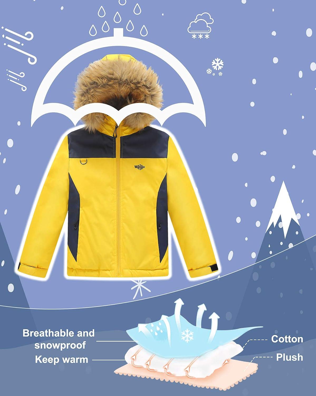 Wantdo Giacca Sci con Cappuccio Impermeabile Cappotto Neve Invernale Bambino