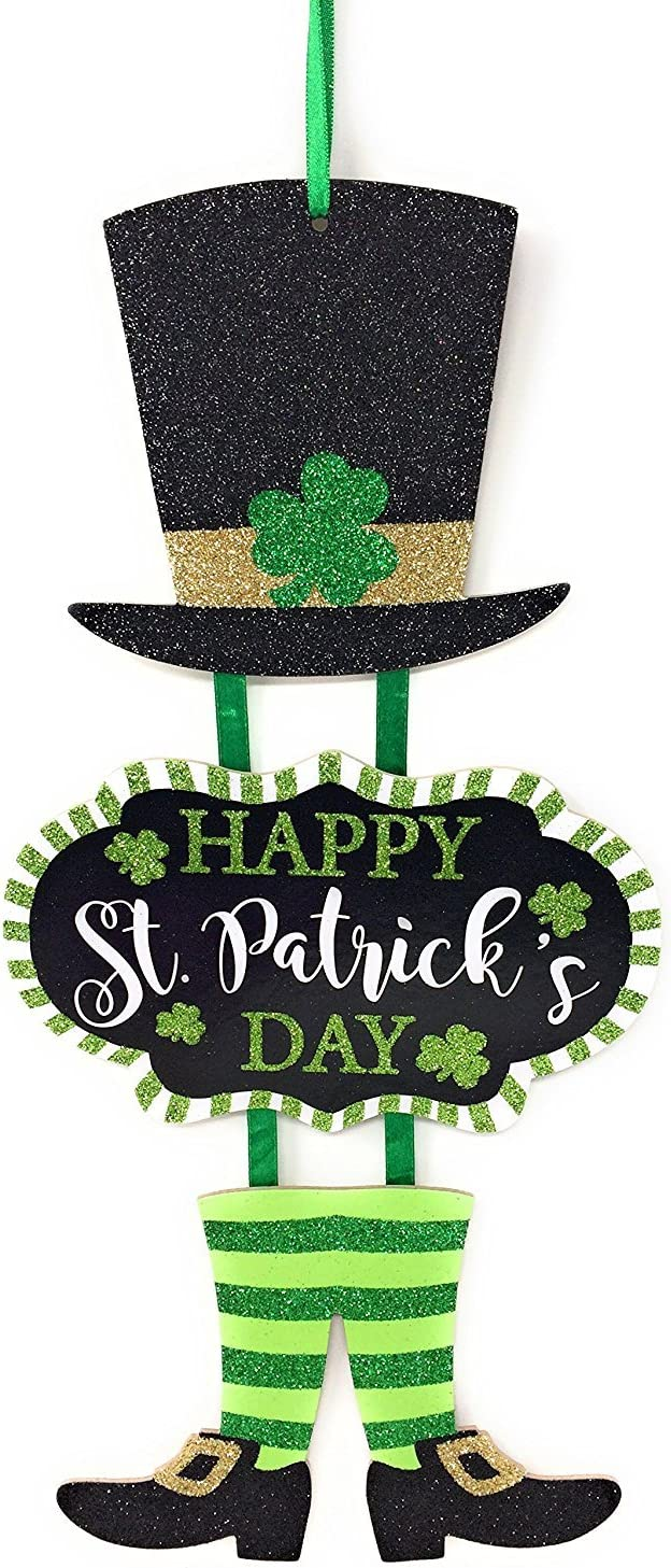 Happy St Patricks Day Leprechaun Glitter Hanging Wall Plaque Sign with Lucky Irish Shamrock Clover on Hat – Vertical Dangling Welcome Home Decor – Saint Paddys Door Decoration