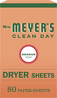 product image for Mrs. Meyer's Clean Day Dryer Sheets, Softens Fabric, Reduces Static, Cruelty Free Formula, Geranium Scent, 80 Count