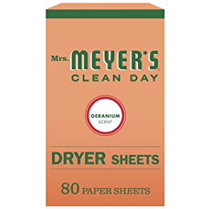 Mrs. Meyer's Clean Day Dryer Sheets, Geranium Scent, 80 count