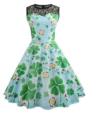 1099a4c815ab0d HUINI Vintage Kleid 50er 60er Retro Swing Rockabilly Kleid Spitzen Blumen  St.Patrick Kleid Sommerkleid Ärmellos Partykleid Cocktailkleid: Amazon.de:  ...