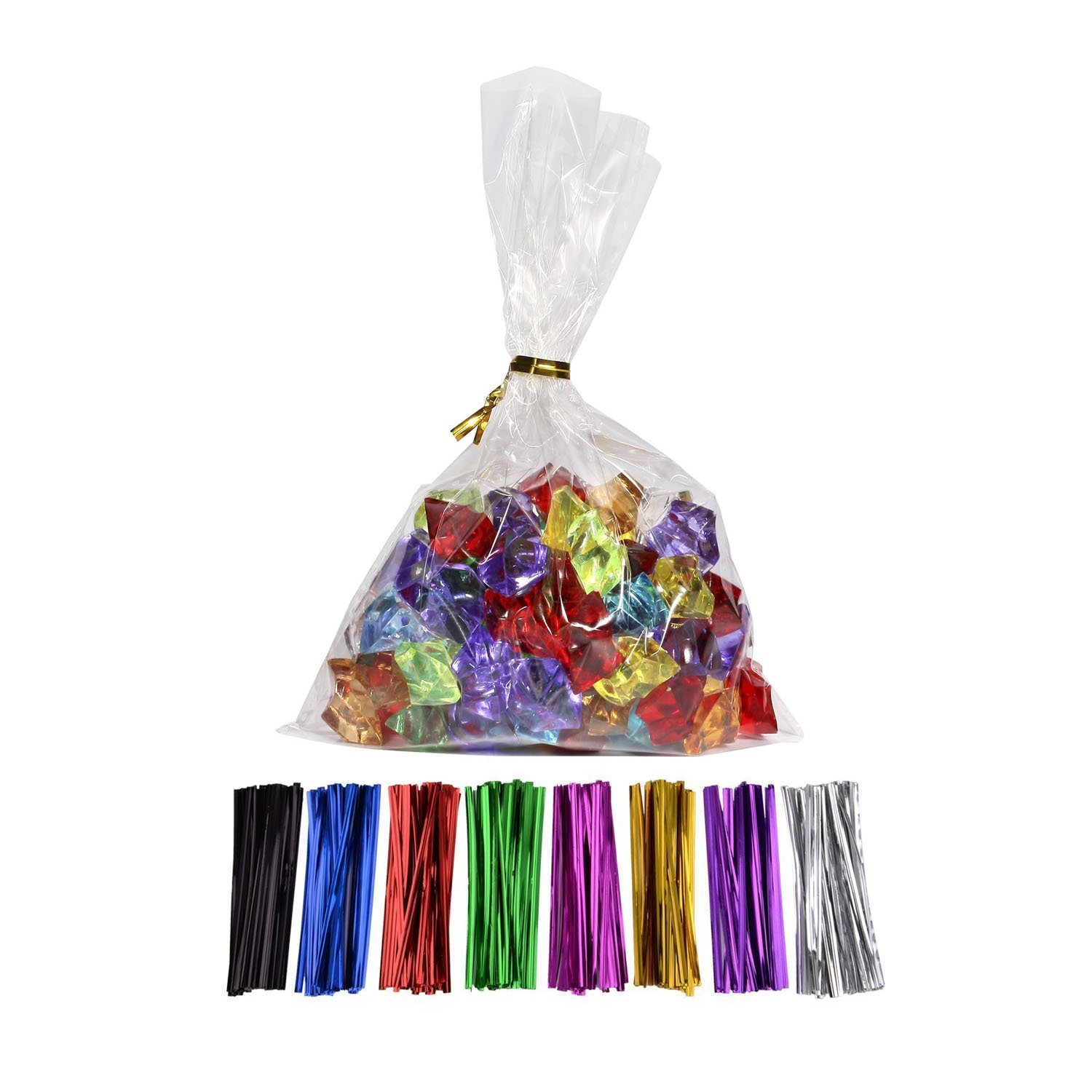 "MoloTAR 100 Pcs 10 in x 6 in(1.4mil.) Clear Flat Cello Cellophane Treat Bags Good for Bakery, Cookies, Candies,Dessert with one random color Twist Ties! 6"" x 10"""