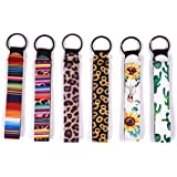 Chapstick Holder Keychain, Neoprene Lip Balm Keychain Holder, 6 Different Vibrant Prints Lip Blam Keychain (Multicolor 6 Pack) Wristlet