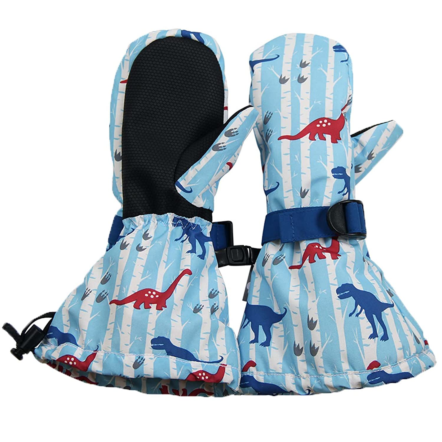 Waterproof Stay-on Snow Mittens for Baby Toddler Kids L: 6-8Y, Dinosaur
