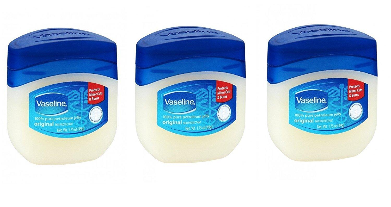 Vaseline 100% Pure Petroleum Jelly Original Skin Protectant, 1.75 OZ Travel Size (Pack of 3)