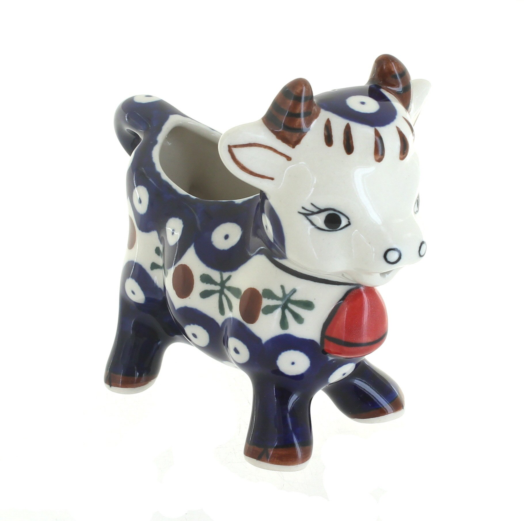 Blue Rose Polish Pottery Nature Cow Creamer