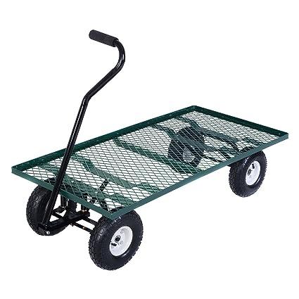 Amazon.com : Wagon Garden Cart Nursery Steel Mesh Deck Trailer Heavy
