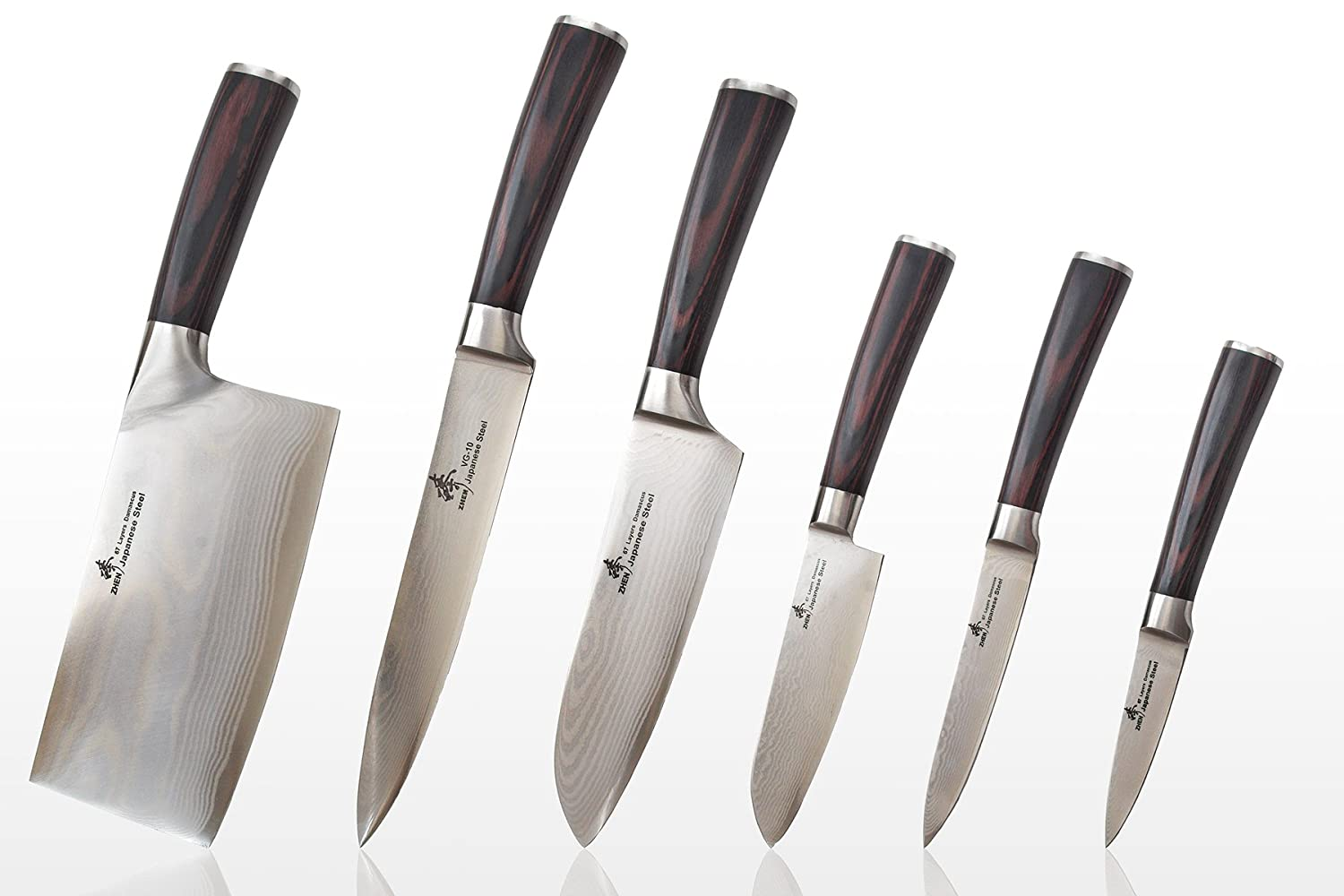 Perfect Amazon.com: Zhen Japanese Damascus VG 10 Knife Set, 6 Piece: Kitchen U0026  Dining