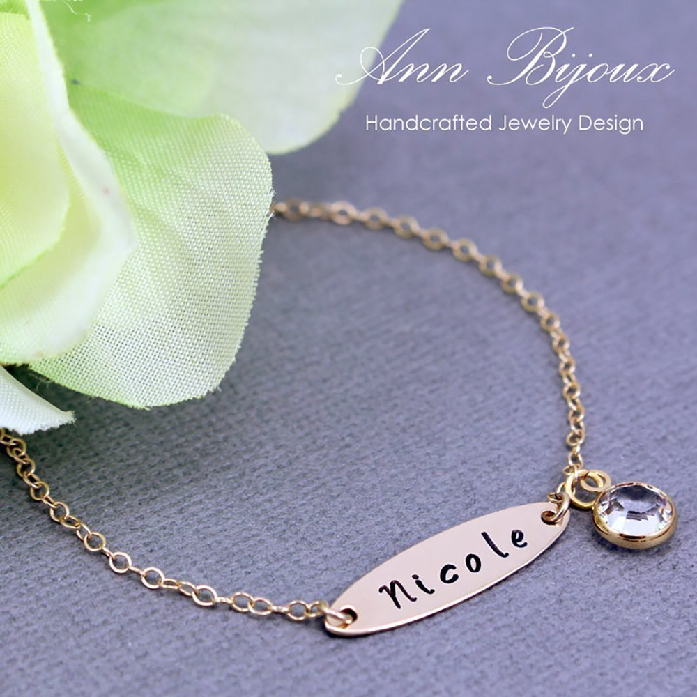 c435760093d6c Amazon.com: Hand Stamped Name Gold Filled Bracelet Personalized Gift ...
