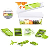 Beemoon 13 IN 1 Vegetable Chopper, Slicer with 10 Stainless Blades and 1.5L Storage Container