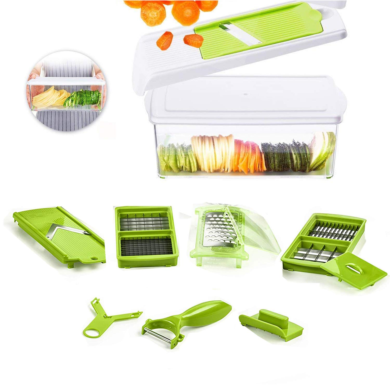 Beemoon Vegetable Chopper - 9 IN 1 Vegetable Slicer with Stainless Blades and 1.5L storage container - Cutter, Peeler, Julienne Slicer for Onion, Potato, Tomato and Fruits